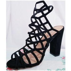 Express Black Caged Heels